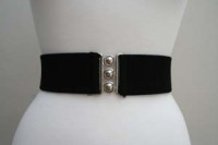 Square Up Fashions 2 1/4 inch wide 50s Retro Pinup Elasticated Waist Cinch Belt - Black - Sizes S & M Only
