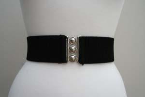 Vintage 1950s Style 2 1/4 inch wide 50s Retro Pinup Elasticated Waist Cinch Belt - Black