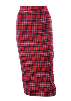 20th Century Foxy Red Tartan 50's Pencil Skirt