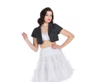 Hearts and Roses (London) Bolero Jacket - Small Black and White Polka Dot