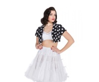 Hearts and Roses (London) Bolero Jacket -  Black and White Large Dot Polka Dot