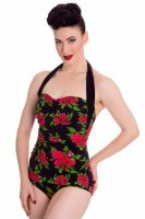 Hell Bunny Cannes 1950's Swimsuit Black and Floral