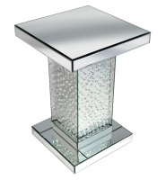 Floating Crystals Mirrored Lamp Table  66cm x 46cm x 46cm