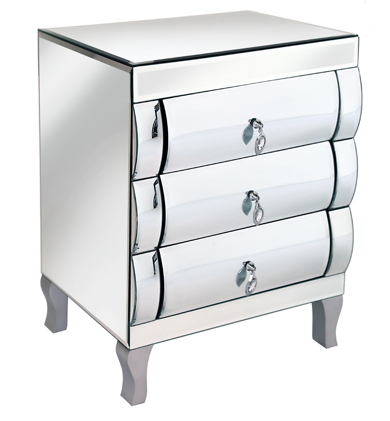 Mirrored Curved 3 draw Chest of Drawers