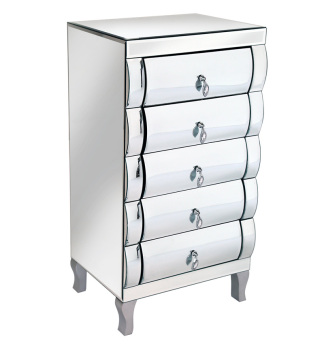 Mirrored Curved 5 draw Chest of Drawers