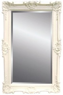 Rococo Extra Large Bevelled Mirror in Ivory / Cream