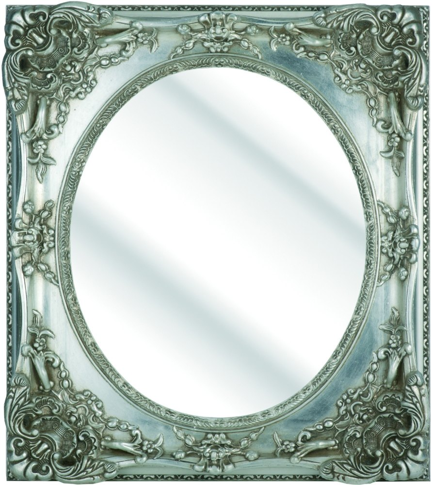 Rococo Oval Silver Bevelled Mirror