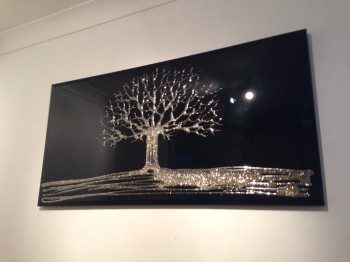 Glitter Tree in Gold on a Black Bevelled Mirror 4 sizes