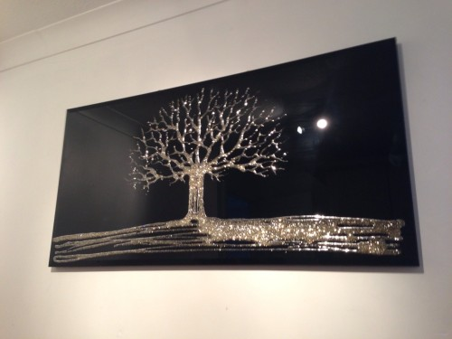 Glitter Tree in Gold on a Black Bevelled Mirror