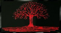 Glitter Tree in Red on a Black Bevelled Mirror 3 sizes available