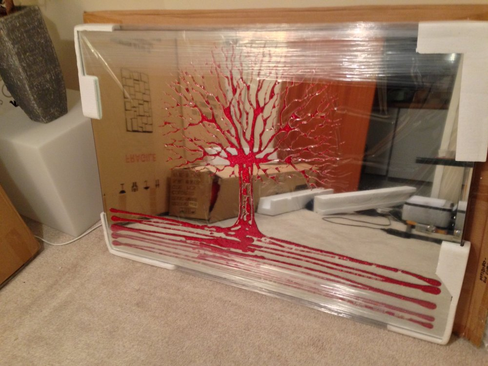Glitter Tree in Red on a Silver Bevelled Mirror