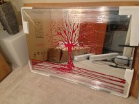 Glitter Tree in Red on a Silver Bevelled Mirror 7 sizes
