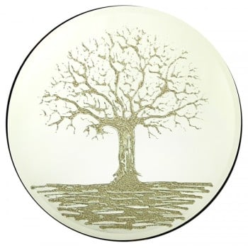 Glitter Tree Gold on a Silver Round Bevelled Mirror 70cm dia