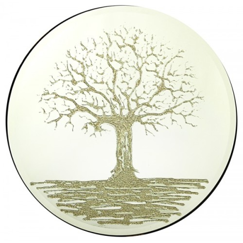 Silver Glitter Tree on a Silver Round Bevelled Mirror