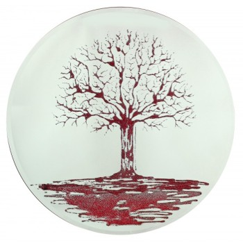 Glitter Tree Red on a Silver Round Bevelled Mirror 70cm dia
