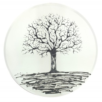 Glitter Tree Black on a Silver Round Bevelled Mirror 70cm dia