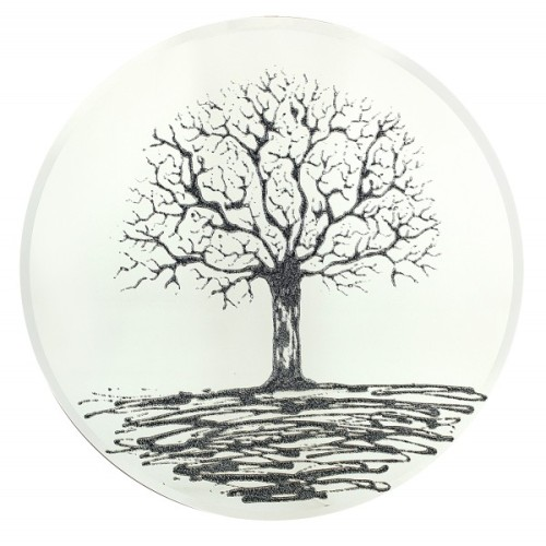 Black Glitter Tree on a Silver Round Bevelled Mirror