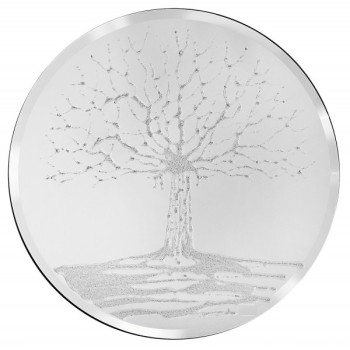 Glitter Tree Silver  on a Silver Round Bevelled Mirror 70cm dia