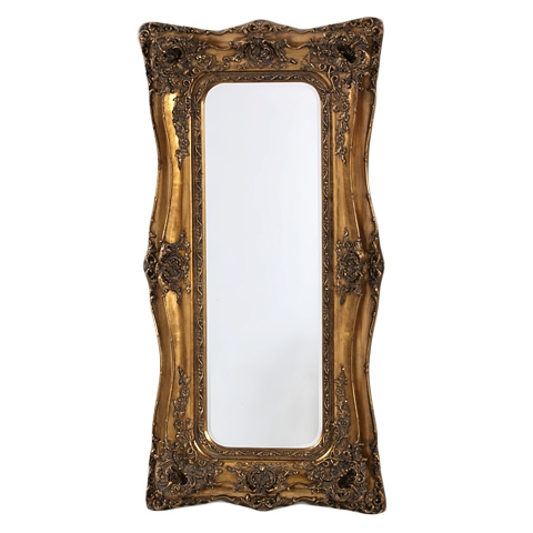 Rococo Ricci Slim Gold Shaped Bevelled Mirror