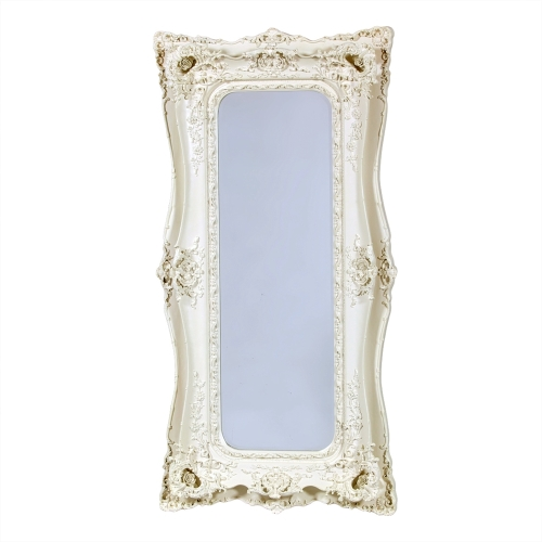 Rococo Ricci Slim Ivory / Cream Shaped Bevelled Mirror