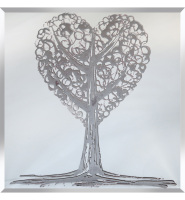 Glitter Tree Love in Silver on Silver Bevelled Mirror 75cm x 75cm