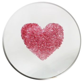 Glitter Love heart Clusters in Red on Silver Bevelled Round Mirror