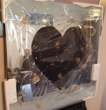 Love heart in Bronze on Silver Bevelled Mirror 75cm x 75cm