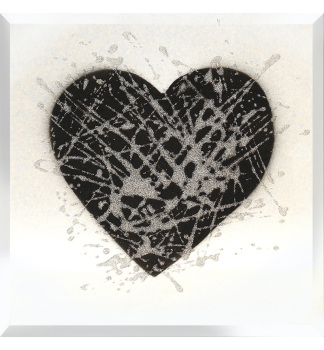 Love Heart in Black on Silver Bevelled Mirror 75cm x 75cm