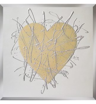 Love heart in Cream on Silver Bevelled Mirror 75cm x 75cm item in stock
