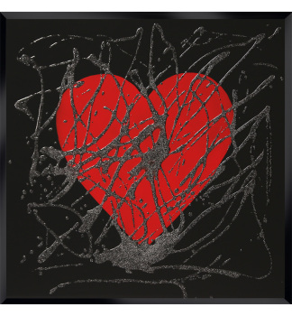 Love heart in Red on Black Bevelled Mirror 60cm x 60cm