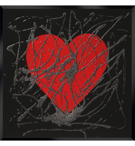 Glitter Love heart in Red on Black Bevelled Mirror