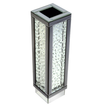 Floating Crystals Mirrored Vase Grey Trim Small 64cm x 17cm