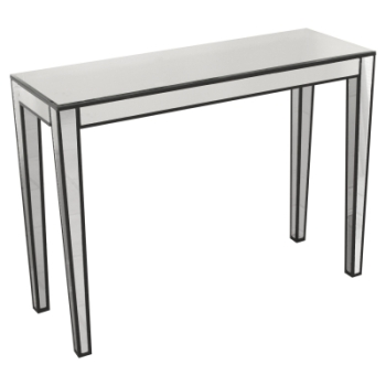 Abbey Silver Mirrored Console Table with black trim