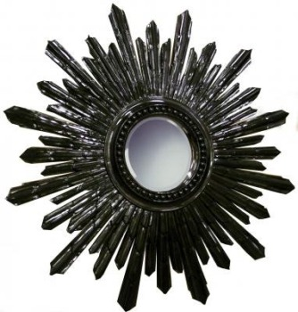 Sunburst Round Black Framed Mirror 101cm