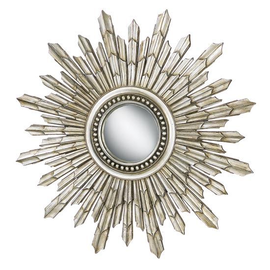 Sunburst Round Brushed Silver Framed Mirror 101cm