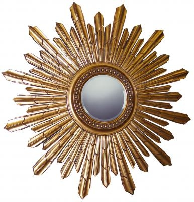 Sunburst Round Gold Framed Mirror 101cm