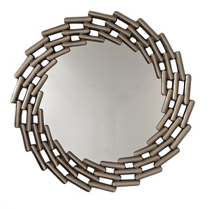 Links Round Brushed Silver Framed Mirror 101cm