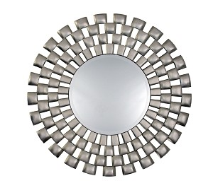 Libby Round Brushed Silver Framed Mirror 101cm