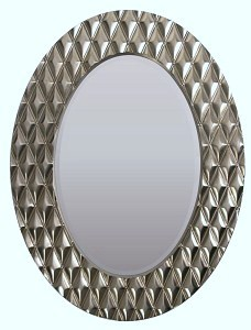 Diamond Oval champagne Gold Framed Mirror 101cm