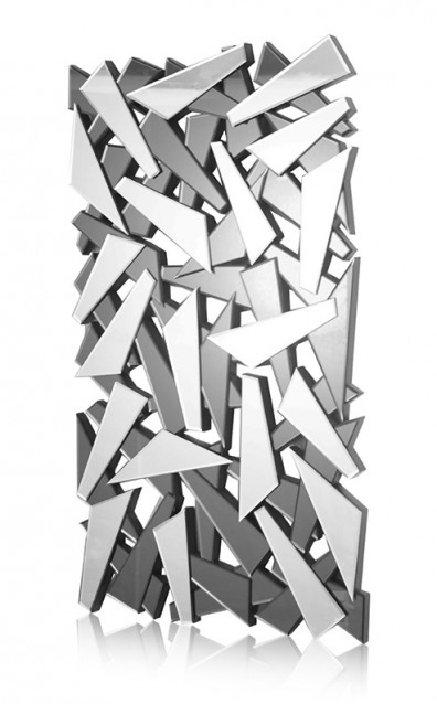Multi Facet Shatter Smoke Grey & Silver Bevelled Mirror 150cm x 85cm