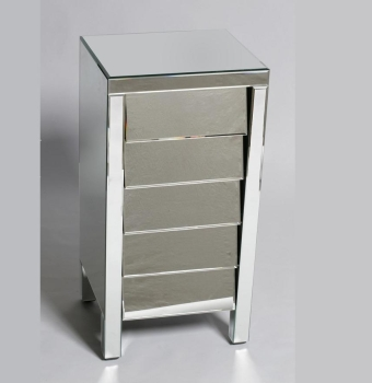 Linley 5 Draw slanted chest Mirrored Plinth