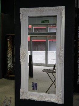 Rococo Core Slim Ivory / White Bevelled Mirror