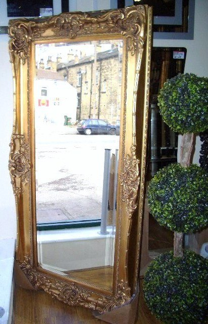 Rococo Core Slim Silver Bevelled Mirror