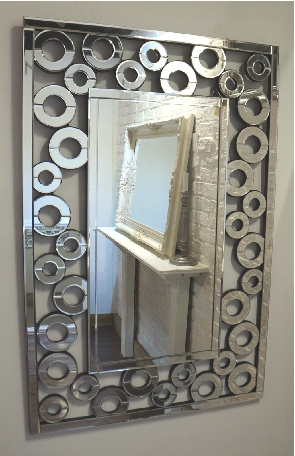 Multi Facet Squares Bevelled Mirror 120cm x 80cm