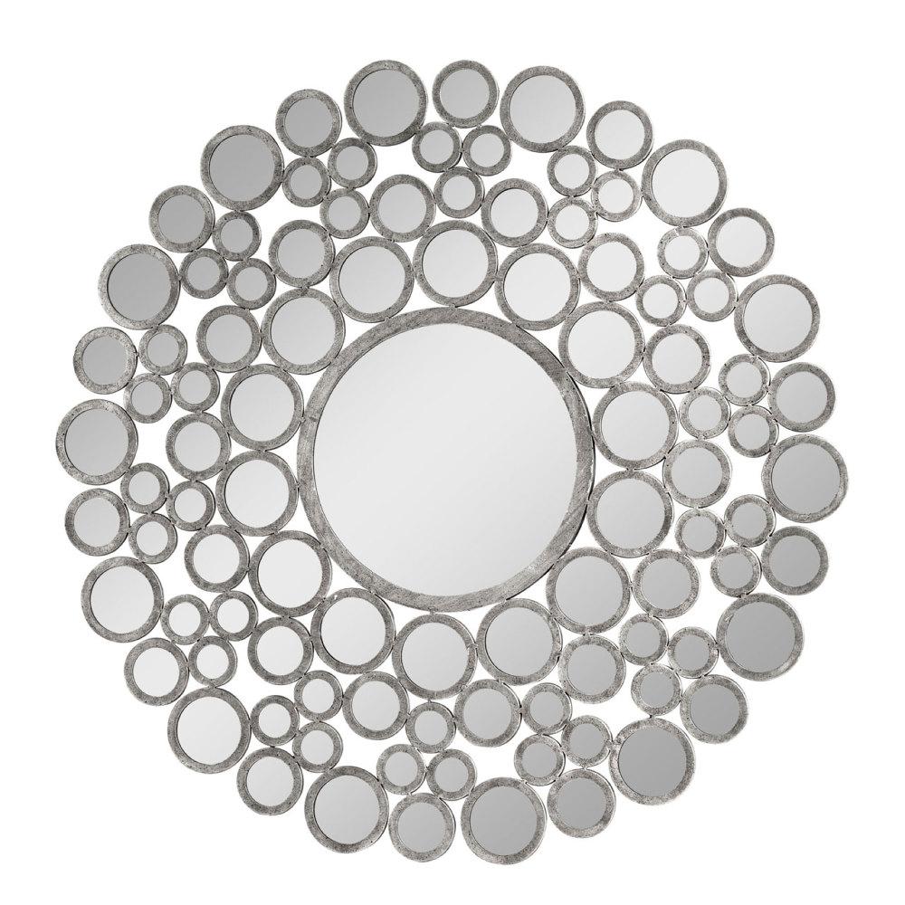 Leaf framed Bevelled Mirror in Silver