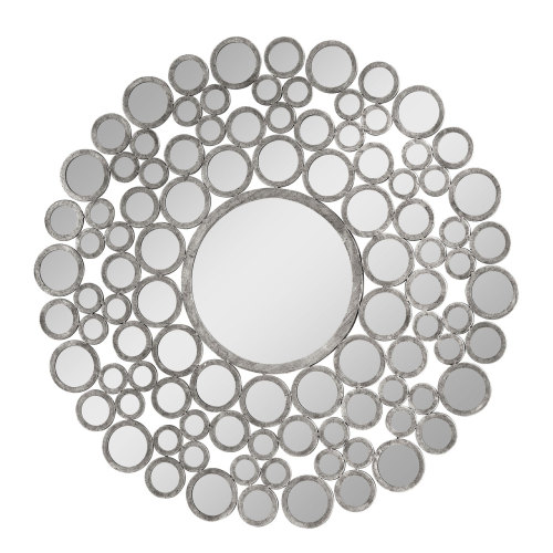 Leaf framed Bevelled Mirror in Silver