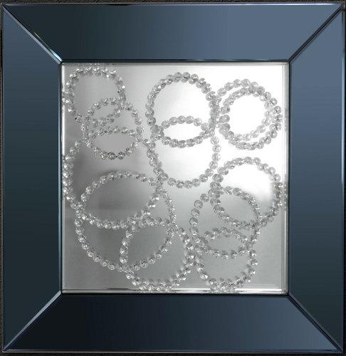 Floating Crystals Wall Mirror Black Mirror Frame 90cm x 60cm Medium