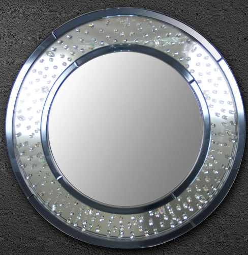 Crystal Wall Mirror floating crystals round wall mirror 90cm dia