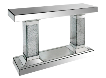 Floating Crystals Mirrored Double Column Console Table