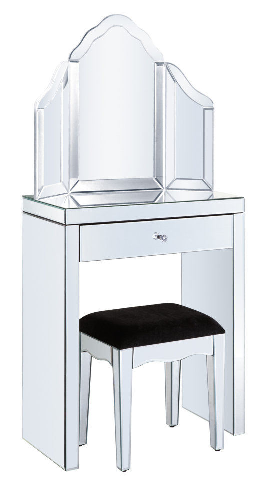 Mirrored Vanity Table And Stool: 1 Draw Dressing Table + Stool + Mirror Package